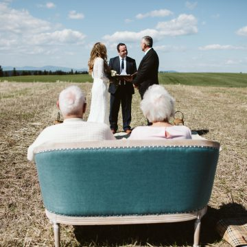 parents watching ceremony micro wedding