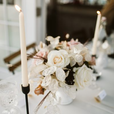 Dusty Pink roses flower table centerpiece