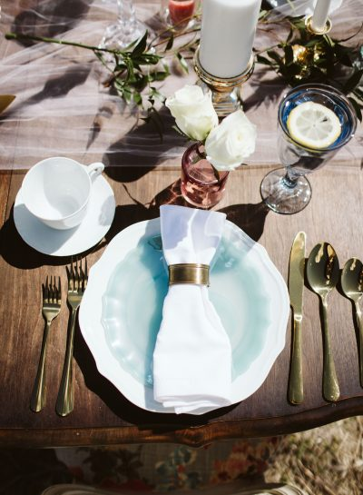 Gold Aqua Dusty Pink Place Setting on Table