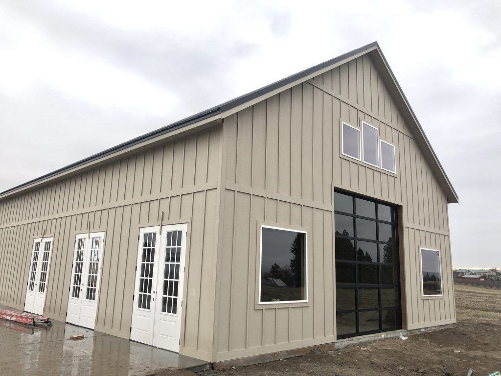 construction progress on new green bluff venue large modern barn