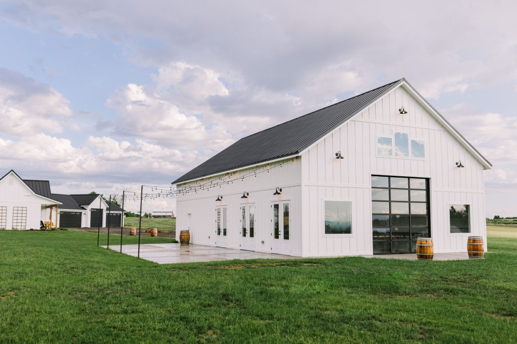 white modern farmhouse barn