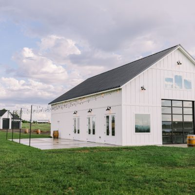 white modern farmhouse barn